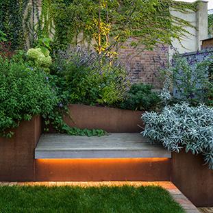 Kensal Rise garden design with bench